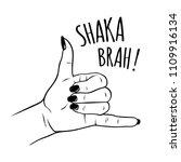 hand drawn female hand in shaka ... | Shutterstock .eps vector #1109916134