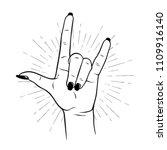 hand drawn female hand in rock... | Shutterstock .eps vector #1109916140