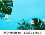 monstera leaves summer minimal... | Shutterstock . vector #1109917883