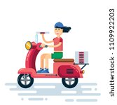 cute smiling pizza delivery... | Shutterstock .eps vector #1109922203