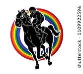 jockey riding horse  hose... | Shutterstock .eps vector #1109922596