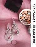 silver earrings with diamond.... | Shutterstock . vector #1109924843