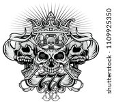 gothic coat of arms with skull  ... | Shutterstock .eps vector #1109925350