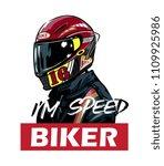 biker in red helmet and jacket...   Shutterstock .eps vector #1109925986