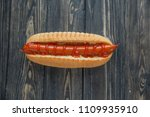 hot dog with smoked sausage on... | Shutterstock . vector #1109935910