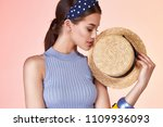glamour beautiful sexy brunette ... | Shutterstock . vector #1109936093