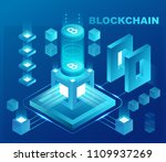 cryptocurrency and blockchain... | Shutterstock .eps vector #1109937269