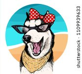 vector portrait of siberian... | Shutterstock .eps vector #1109939633