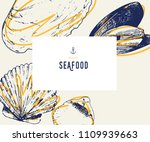 seafood banner set. hand drawn... | Shutterstock .eps vector #1109939663