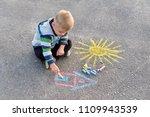 adorable little blond boy...   Shutterstock . vector #1109943539