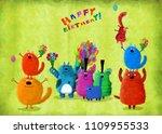 a cute birthday card  many...   Shutterstock . vector #1109955533