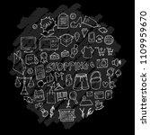 shopping doodle illustration... | Shutterstock .eps vector #1109959670