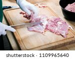raw ground beef meat with... | Shutterstock . vector #1109965640