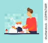 man washes dirty dishes. flat... | Shutterstock .eps vector #1109967689