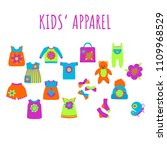 kids clothes collection ... | Shutterstock .eps vector #1109968529