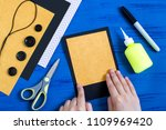 child makes card with spiders... | Shutterstock . vector #1109969420