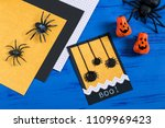 child makes card with spiders... | Shutterstock . vector #1109969423