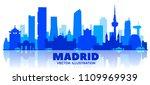 madrid  spain  skyline...   Shutterstock .eps vector #1109969939