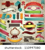 vector set of retro ribbons and ... | Shutterstock .eps vector #110997080
