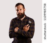 handsome young bearded man... | Shutterstock . vector #1109985758