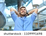call center operator in headset ... | Shutterstock . vector #1109991698