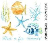 watercolor ocean elements.... | Shutterstock . vector #1109996246