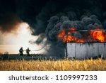 dramatic scene. firefighters... | Shutterstock . vector #1109997233
