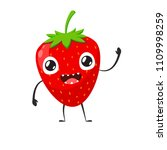happy strawberry is waving hand | Shutterstock .eps vector #1109998259