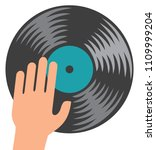 dj icon   vinyl disc and hand | Shutterstock .eps vector #1109999204