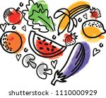 colorful vector heart of fruits ... | Shutterstock .eps vector #1110000929