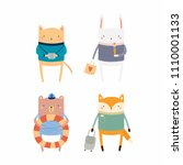 set of cute funny animals on... | Shutterstock .eps vector #1110001133