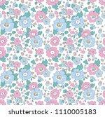 flower liberty seamless pattern ...   Shutterstock .eps vector #1110005183