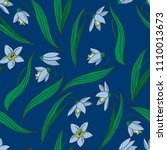 seamless pattern with snowdrops ... | Shutterstock .eps vector #1110013673