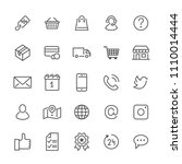 online shopping flat line icons....