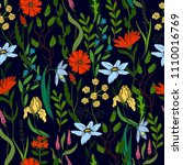 Wild Small Flowers In Seamless...