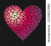 mosaic red heart . stained glass | Shutterstock .eps vector #1110021983