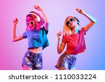 dj girl with pink blond fashion ...   Shutterstock . vector #1110033224