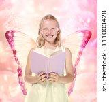 Little Blonde Girl Reading a Book Fantasy Theme - stock photo