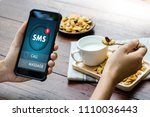 sms messaging communication... | Shutterstock . vector #1110036443