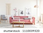 patterned armchair and pink... | Shutterstock . vector #1110039320