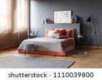 spacious bedroom interior with... | Shutterstock . vector #1110039800