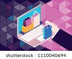online shopping  ecommerce.... | Shutterstock .eps vector #1110040694