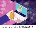 online shopping. isometric... | Shutterstock .eps vector #1110040718