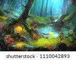 fantastic alien planet ... | Shutterstock . vector #1110042893