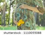 unrecognizable pregnant young... | Shutterstock . vector #1110055088