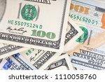 background of 100 dollar bills. ... | Shutterstock . vector #1110058760