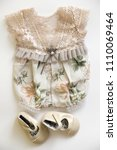 vintage lace baby girl romper... | Shutterstock . vector #1110069464