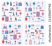 set of vector backgrounds in a... | Shutterstock .eps vector #1110069740