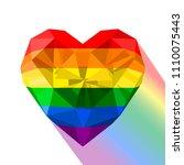 gay pride flag. heart shaped... | Shutterstock .eps vector #1110075443