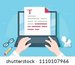 writer writing on computer... | Shutterstock . vector #1110107966